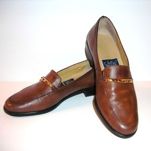 Women's brown leather loafers by SELBY, Sz 5 1/2 B